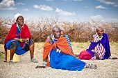 TANZANIA, AFRICA-FEBRUARY 9, 2014: Masai with traditional  ornaments, review of daily life of local