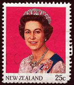 NEW ZEALAND, CIRCA 1965: Queen Elizabeth II on vintage postage stamp, circa 1965