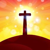 picture of atonement  - Vector illustration of glorious cross at sunset - JPG