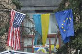 KIEV, UKRAINE - APR 7, 2014: Flags countries,what support Putsch of Junta in Kiev Camp  of rioters i