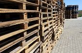 pic of wooden pallet  - Wooden transport pallets in stacks - JPG