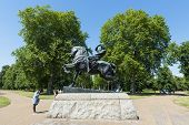 LONDON, UK - AUGUST 01: Horse and rider sculpture called Physical Energy in Kensington Gardens. The