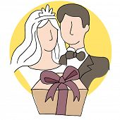 An image of a wedding gift with bride and groom.