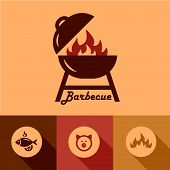 stock photo of grilled sausage  - Illustration of Grill in Flat Design Style - JPG