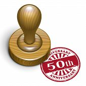 pic of 50th  - illustration of grunge rubber stamp with the text 50th anniversary written inside - JPG