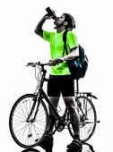 one  man exercising bicycle mountain bike drinking on white background