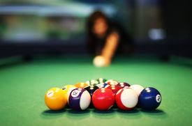 stock photo of snooker  - Snooker Table - JPG