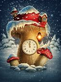 picture of fantasy  - Fantasy mushroom house with a clock  - JPG