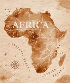image of continent  - Map of Africa in old style in vector format - JPG
