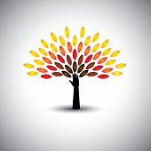 image of sustainable development  - colorful people tree and hand  - JPG
