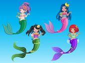 picture of mermaid  - beautiful character mermaid and  ocean 4 mermaid vector - JPG