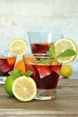 pic of sangria  - glass and pitcher of ice cold Sangria - JPG