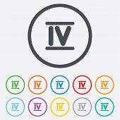 stock photo of roman numerals  - Roman numeral four sign icon - JPG