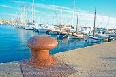 stock photo of bollard  - close up of a bollard in Alghero harbor