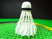 stock photo of shuttlecock  - shuttlecock on a badminton racket on green field - JPG