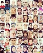 stock photo of composition  - Many faces wall composition - JPG