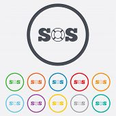 picture of sos  - SOS sign icon - JPG