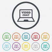 stock photo of video chat  - Video chat laptop sign icon - JPG