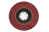 picture of abrasion  - Red color abrasive flap grinding disc number 120 isolated on white 