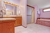 image of bath tub  - Bathroom interior in light pink tone with tile trim shower bath tub and bathroom vanity cabinet - JPG
