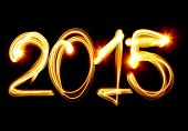 image of illuminating  - Happy New Year 2015 by light - JPG