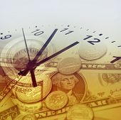 picture of american money  - Clock and American currency - JPG