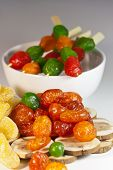 picture of mixture  - Candied exotic mixture of dried fruits and berries on the table - JPG