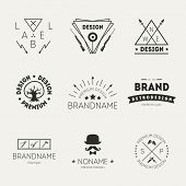 Image of retro vintage insignias or logotypes set. Vector design elements, business signs, logos, identity, labels, badges and objects.