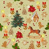 stock photo of christmas bells  - Seamless christmas pattern with rocking horse - JPG