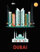 picture of dubai  - Illustration of Dubai city on black background - JPG