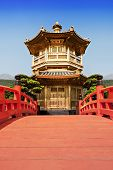 stock photo of hong kong bridge  - Nan Lian Garden Chi Lin Nunnery Hong Kong - JPG