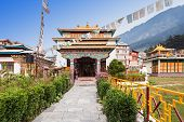 stock photo of tibetan  - Tibetan monastery in Manali village Himalaya India - JPG