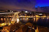 pic of dom  - The Dom Luis I Bridge is a metal arch bridge that spans the Douro River between the cities of Porto and Vila Nova de Gaia Portugal - JPG