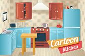 image of crockery  - Kitchen Furniture Accessories and Interior Cartoon Apartment House Room Retro Vintage Background Vector Illustration - JPG