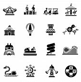 foto of amusement park rides  - Amusement park fairground games and attractions icons black set isolated vector illustration - JPG
