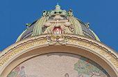 picture of municipal  - Municipal House facade at Republiky square near the Powder Gate - JPG