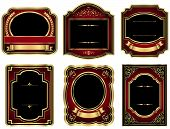stock photo of modifier  - Set of 6 vintage style labels with gold - JPG