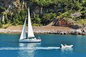 Постер, плакат: Boats Sailing Near The Coastline