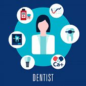 foto of antibiotics  - Dentist and dentistry concept with dentist surrounded by icons depicting caries - JPG