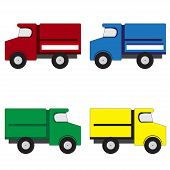 picture of truck-cabin  - Illustration of 4 multicolored trucks on a white background - JPG