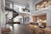 foto of penthouse  - 3D rendering of a modern loft interior - JPG
