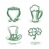 stock photo of leprechaun  - Vector St Patricks Day Symbols - JPG