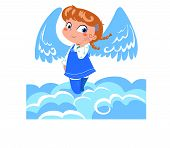 stock photo of little angel  - A sweet little angel with big wings on the clouds - JPG