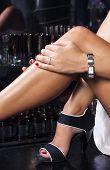 foto of watch  - Sexy legs fashion sandalsluxury watch and diamond ring - JPG