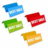 stock photo of spatial  - Four color best sale spatial tags vector business advertising - JPG