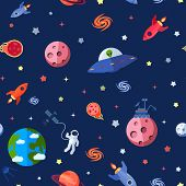 picture of meteorite  - Space travel seamless pattern with meteorites rocket astronaut shuttle vector illustration - JPG