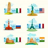 foto of world-famous  - World landmarks airplane tickets set with famous tourism attractions isolated vector illustration - JPG
