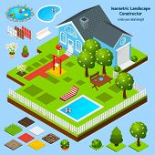 image of landscape architecture  - Landscape design isometric constructor with house garden and lawn architecture elements vector illustration - JPG