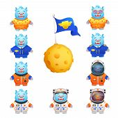 foto of cartoon character  - Funny cute monsters in pajamas space travel suit pilot uniform character cartoon set isolated vector illustration - JPG