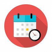 stock photo of clocks  - Calendar and clock Time circle icon - JPG